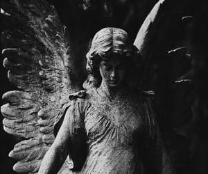 statue, grey, and ángel image