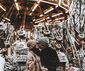 couple, christmas, and snow image