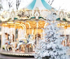carousel, lights, and christmas image