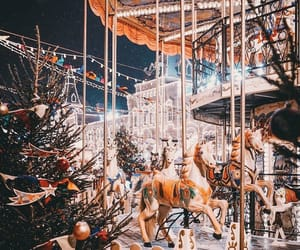 christmas, winter, and carousel image