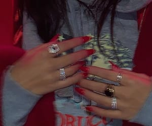 red, fashion, and rings image
