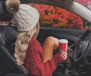 autumn, blonde, and car image
