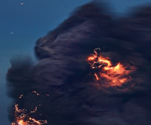volcano, dark, and fire image