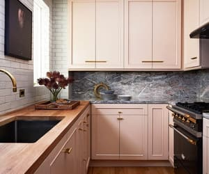 decor, kitchen, and pink image