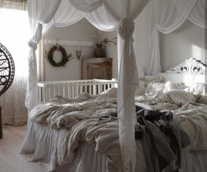 bed, bedding, and beige image