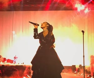 dress, leather dress, and microphone image
