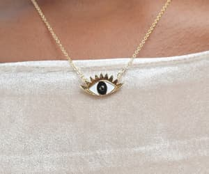 eye, necklace, and gold image