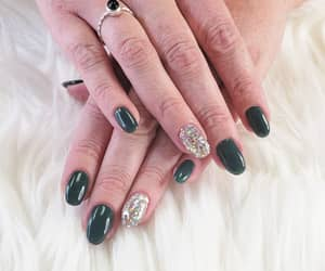 nails, glitternails, and greennails image