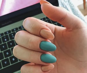 beige, teal, and acrylic nails image