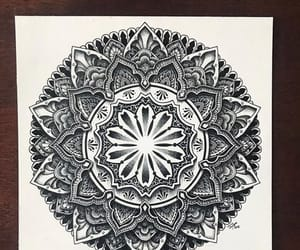 black and white, drawings, and mandala image