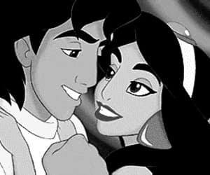 aladdin, black&white, and castle image
