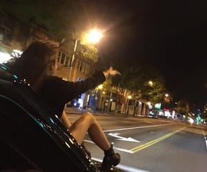 girl, night, and car image