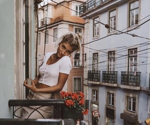 cities, flowers, and girl image