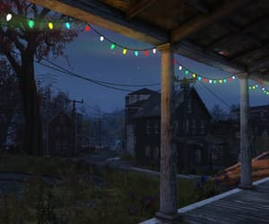 christmas lights, ghost town, and colorful image