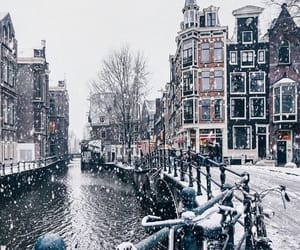 snow, winter, and amsterdam image