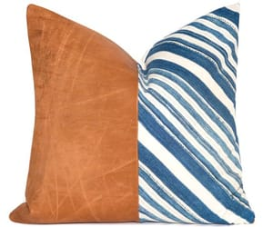 blue and white, etsy, and denim pillow image