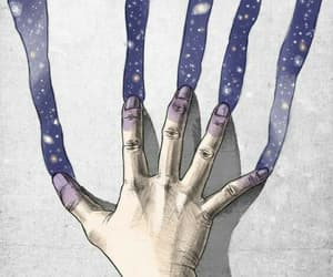 art, hand, and galaxy image