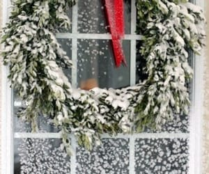 christmas, decorating, and wreath image