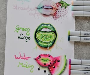 art, strawberry, and draw image