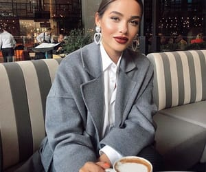 coat, coffee, and outfit image