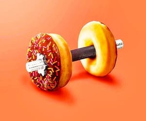 art, barbell, and donuts image