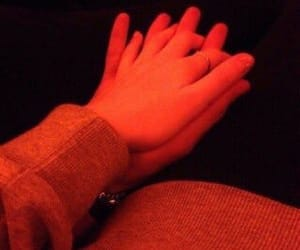 red, hands, and romance image