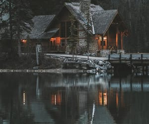 house, lake, and photography image