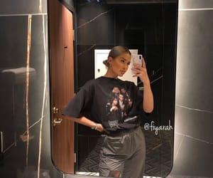 fashion, girl, and mirror image