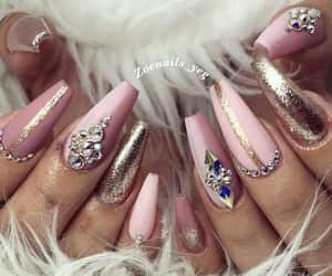 gold, pink, and nails image