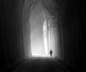 alone, black and white, and dark image