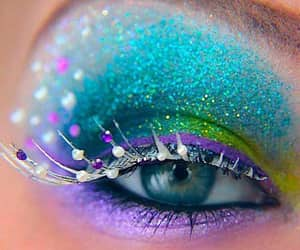eye shadow, lilac, and turquoise image
