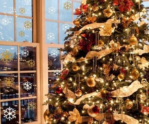 christmas tree, snowflakes, and vinyl wall decals image
