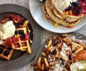 food, pancake, and waffle image