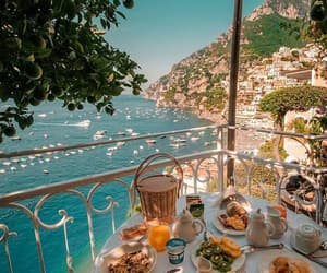 Amalfi coast, breakfast, and sea image
