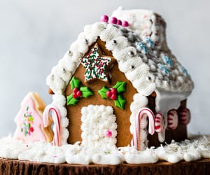food, gingerbread house, and sweets image