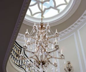 architecture, chandelier, and stair image