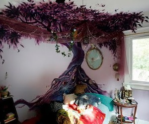 tree, room, and bedroom image