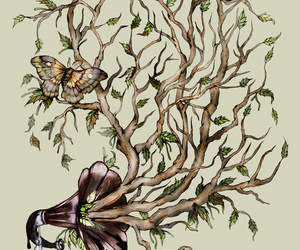art, butterfly, and leaves image