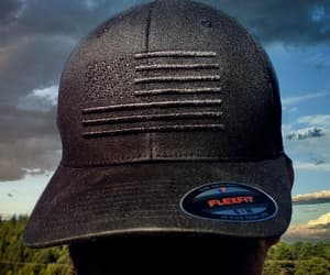 flexfit hat, black american flag hat, and black flexfit hat image