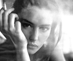 black and white, cigarette, and monica bellucci image