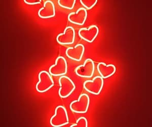 red, hearts, and neon image