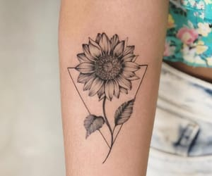 girl, sunflower, and Tattoos image