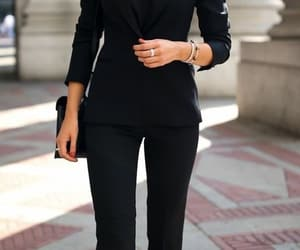 fashion, high heels, and pants suit image