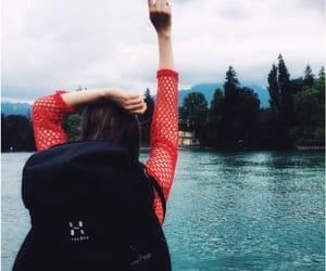 beautiful, girl, and lake image