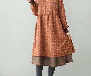 brown dress, winter dress, and women's dresses image