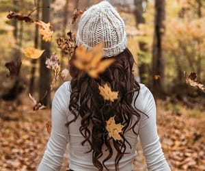 brunette, fall, and fall leaves image