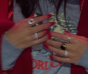 red, rings, and fashion image