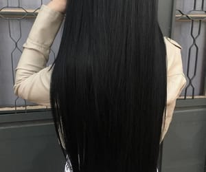 black, long, and straight image