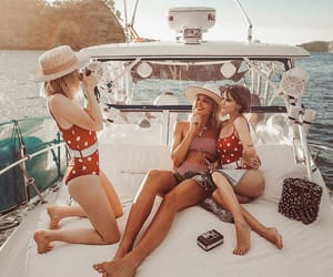 boat, friends, and red image