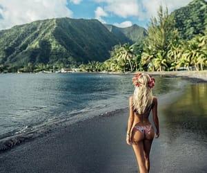 beach, tahiti, and black image